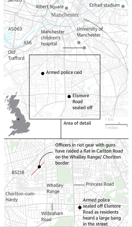 Manchester attack map